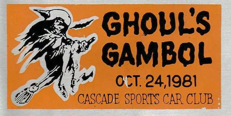 Ghoul's Gambol car dash plaque, 1981. Rally. The Auto Reporter.