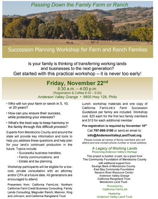 AVLT farm and ranch workshop poster