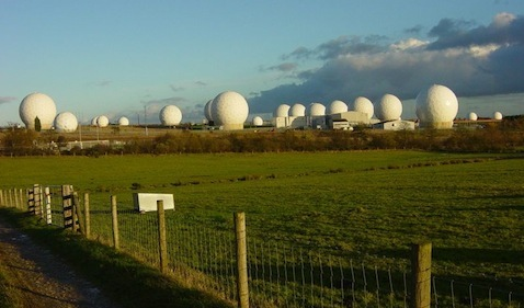 Radomes (antennae housings) at Menwith Hill, England, the largest electronic monitoring station in the world.