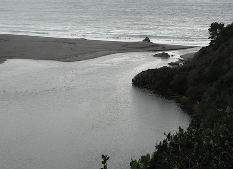 The river breached north of Pinnacle Rock.