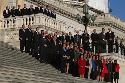 Newly elected freshman members of the upcoming 114th Congress pose for a class photo on the steps of the U.S. Capitol in Washington, D.C., on Nov. 18, 2014. (Mark Wilson/Getty Images)
