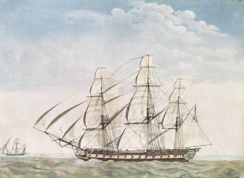 Watercolor of the Essex, attributed to Joseph Howard.