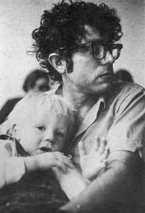 Bernie Sanders holding son Levi in 1971.