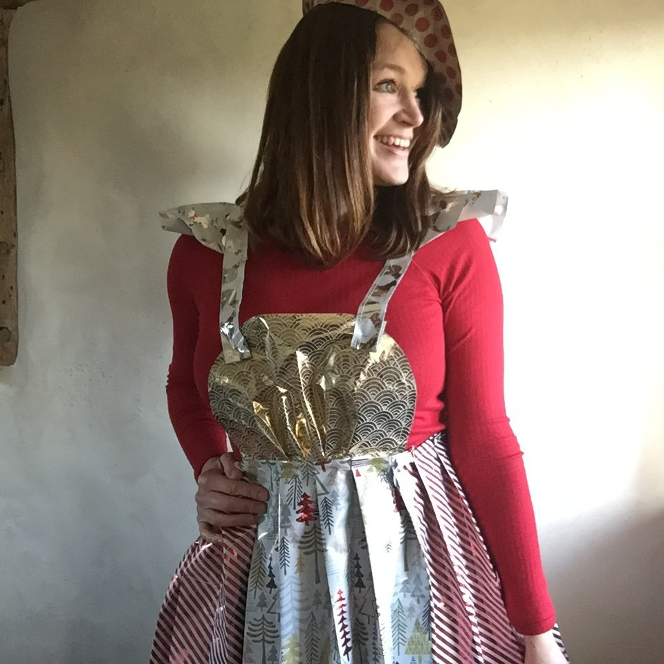 wrapping paper fashion apron dress made entirely from paper