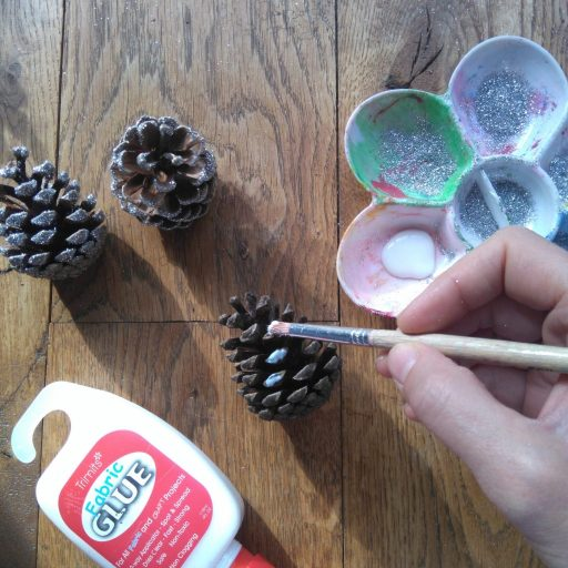 paint cones with pva glue woodland animal headbands diy tutorial made with twigs and cones the awesome childhood project blog