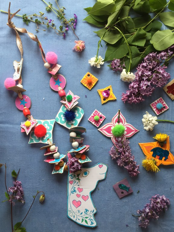 make recycled cardboard nature necklaces with kids free unicorn craft printable