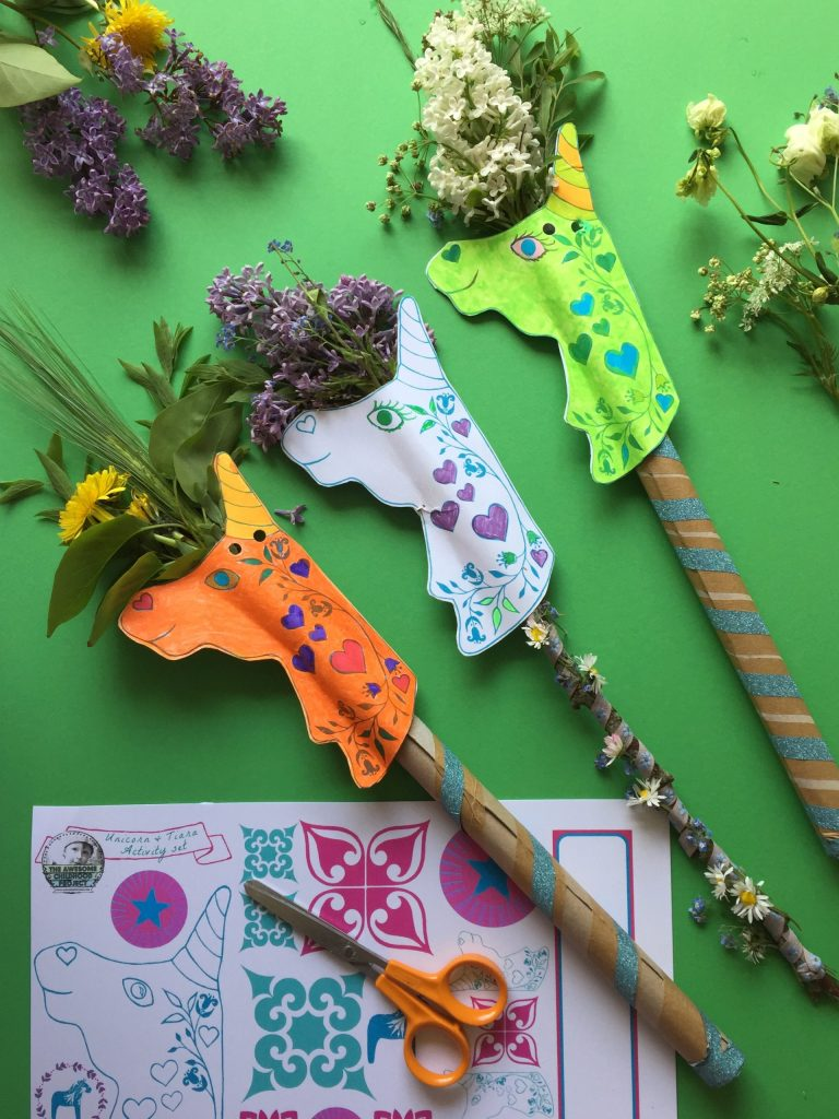 Kids Eco Unicorn Wand – a free unicorn printable recycled kids craft