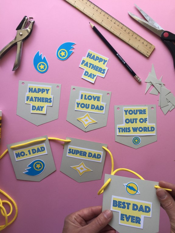 superhero themed kids homemade fathers day bunting made with free pdf craft printables