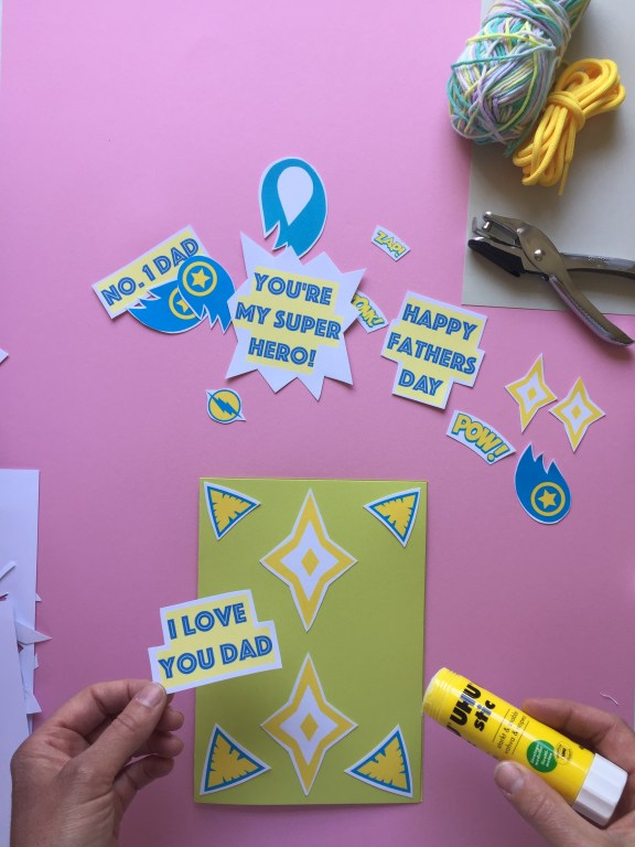superhero themed kids homemade fathers day card and bunting craft with free pdf craft printables
