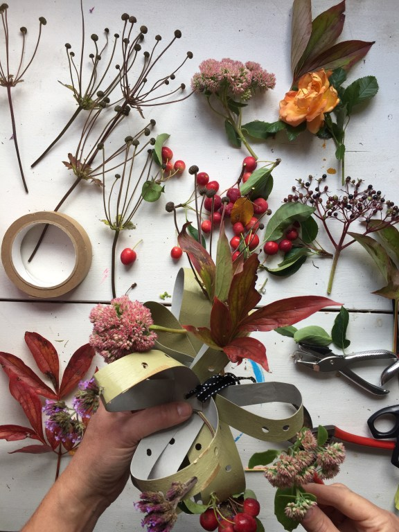 get happy making a recycled cardboard floral fascinator - a great autumn craft for adults