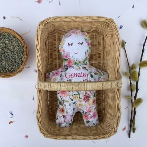 Gemini star sign birth flower cloth doll – organic cotton nature craft sewing kit – personalised new baby gift