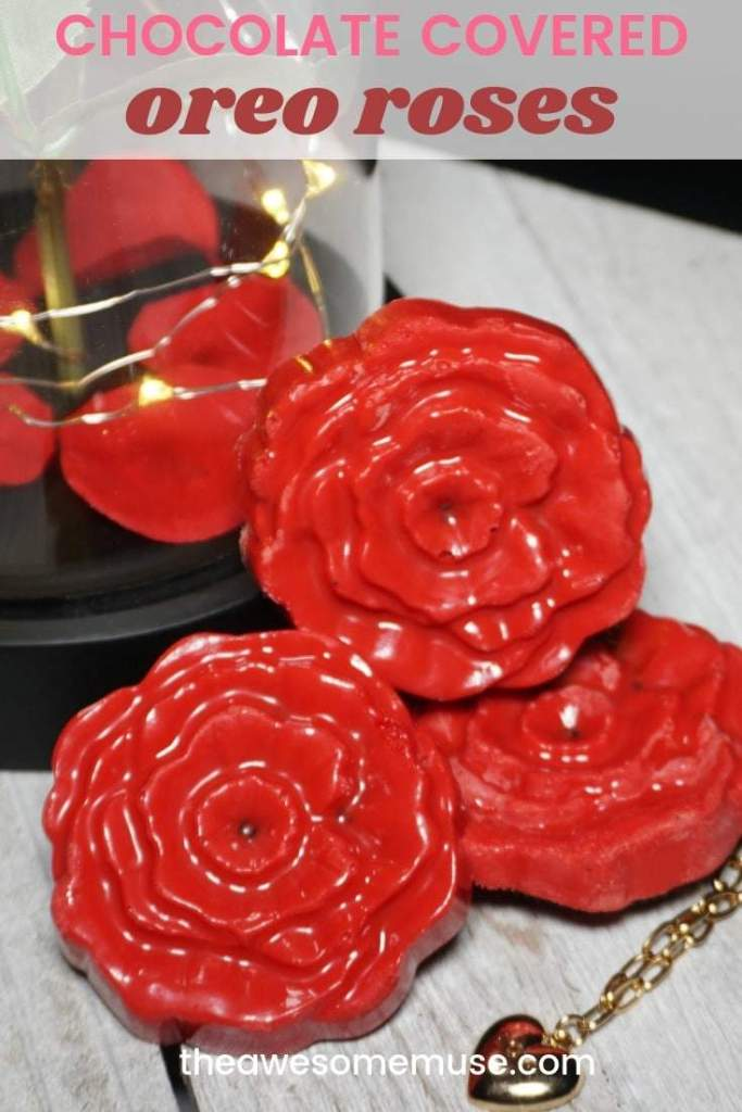 Recipe for Chocolate Covered Oreo Roses. 3 chocolate oreo roses on a white wood tray with a gold tone bracelet and led princess rose dome table lamp