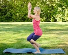 Yoga pose Garudasana or Eagle pose