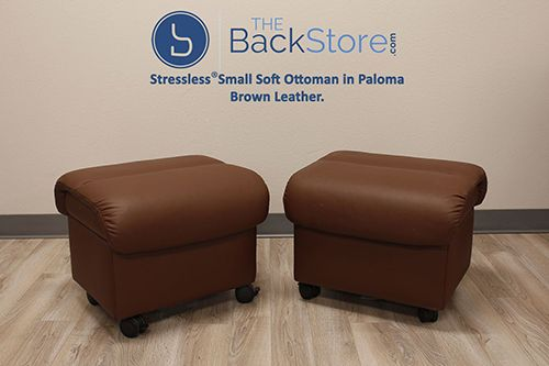 stressless small soft ottoman in paloma brown leather