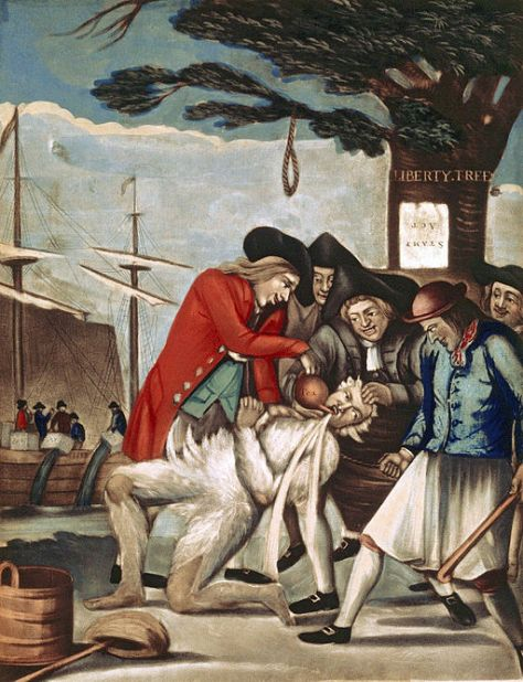 The tarring and feathering of Boston Commissioner of Customs John Malcolm four weeks after the Boston Tea Party