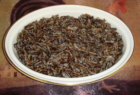 A close-up of a bowl of cooked wild rice