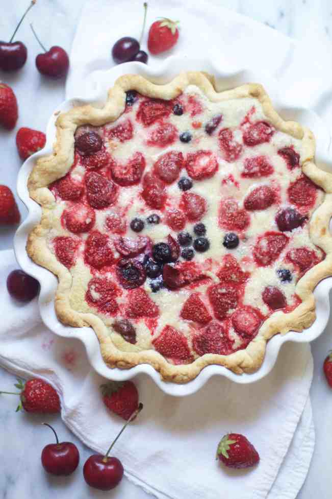 Berry Cherry Custard Pie