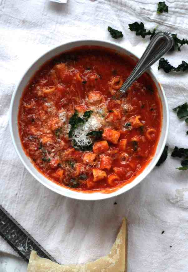 Tomato Soup with Beans and Fresh Pasta