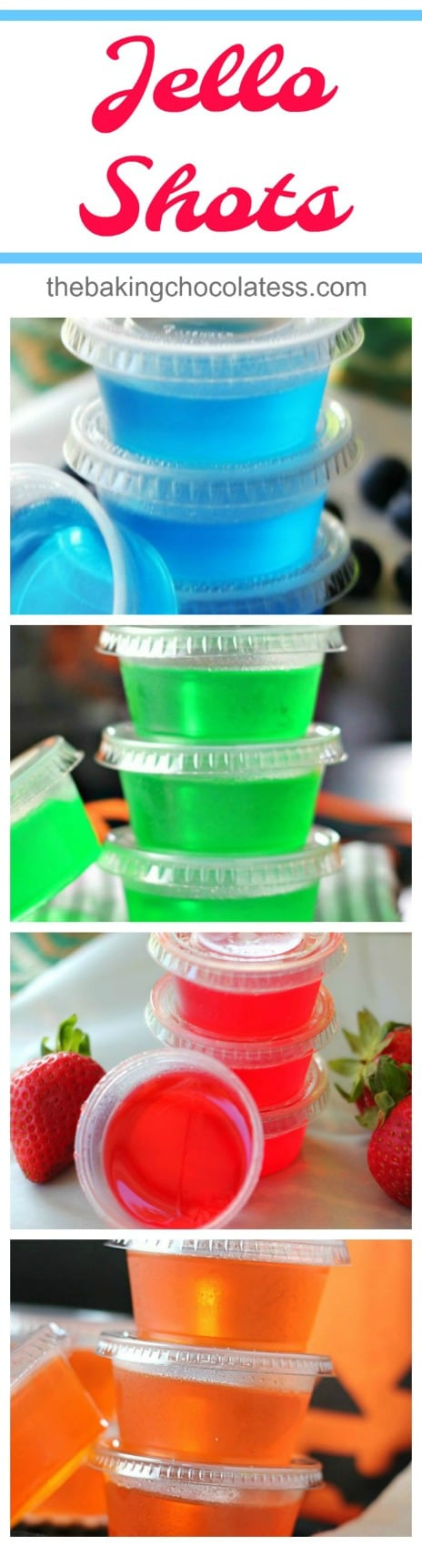 Jell-O Shots - Jell-O shots are easy to make.  All you do is add one small package of your favorite Jell-O to 1 cup boiling water or juice, whisking well and then add 1 cup of your choice of alcohol.   It's Party Time and fun times!