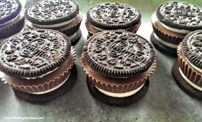 Chocolate Dipped Peanut Butter Cup Stuffed Oreos before