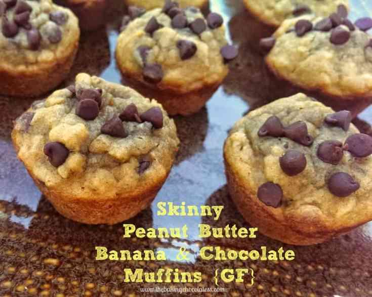 Skinny Peanut Butter Banana and Chocolate Muffins {GF}