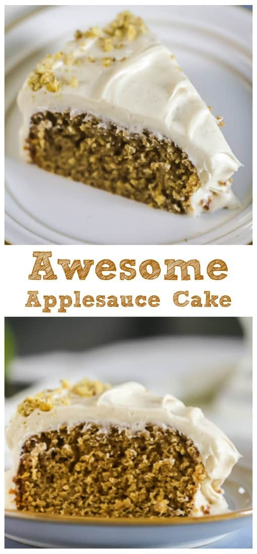 'Awesome' Applesauce Cake {Cinnamon Cream Cheese Frosting included!}  #apple #applesauce #cake #cinnamon #cream cheese #frosting #fall