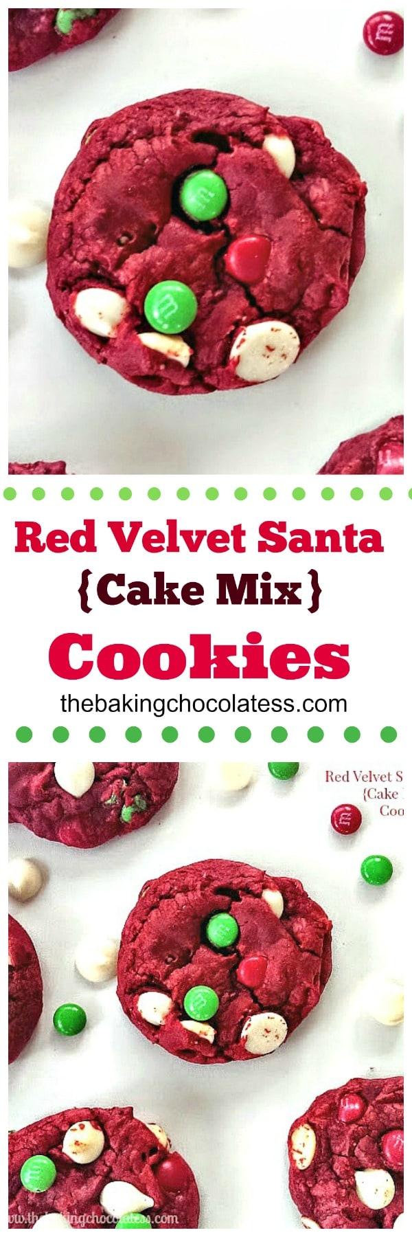 Red Velvet Santa {Cake Mix} Cookies #cookies #holiday #santa #cakemix