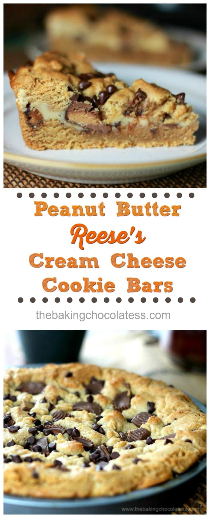 Peanut Butter Reese's Cream Cheese Cookie Bars! Would YOU turn peanut butter & Reese's Cup cookies entertwined with cream cheese down?   - #peanutbutter #reeses #bars #baking #creamcheese