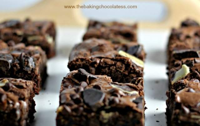 Thin Mint & Andes Dark Chocolate Brownies!