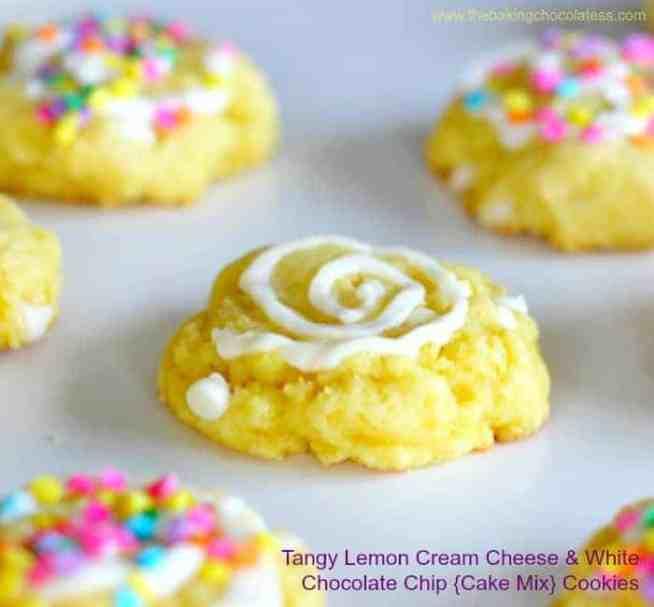 Tangy Lemon Cream Cheese & White Chocolate Chip {Cake Mix} Cookies