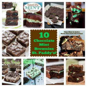 10  Chocolate Mint Brownies for St. Paddy's! #brownies #roundup #st patricks #st paddys #chocolate #mint #bars #baking
