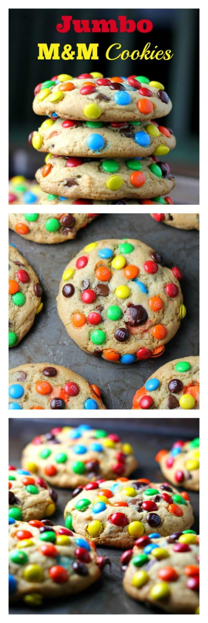 JUMBO 'Soft Batch' M&M  Cookies - JUMBO 'Soft Batch' M&M  Cookies - These rainbow JUMBO cookies have 2 secret ingredients! Pudding and butter extract. So you get, soft, thick, fluffy and buttery cookies loaded with M&Ms and chocolate chips. I think I can live with that! :)