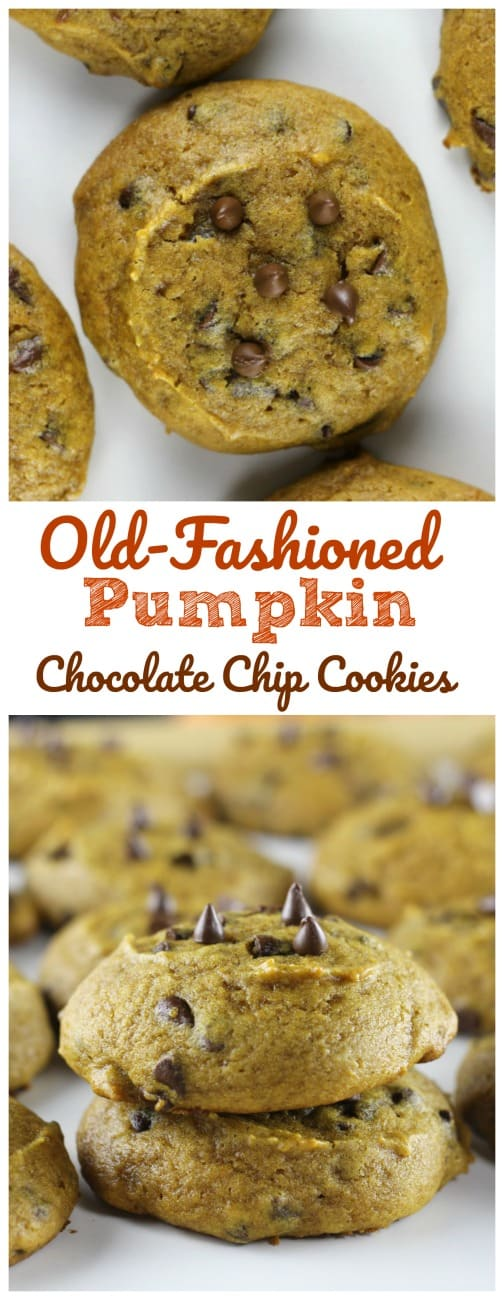 Old-Fashioned Pumpkin Chocolate Chip Cookies -  Old-Fashioned Pumpkin Chocolate Chip Cookies like Grandma bakes! #pumpkin #cookies #chocolate chip #fall baking