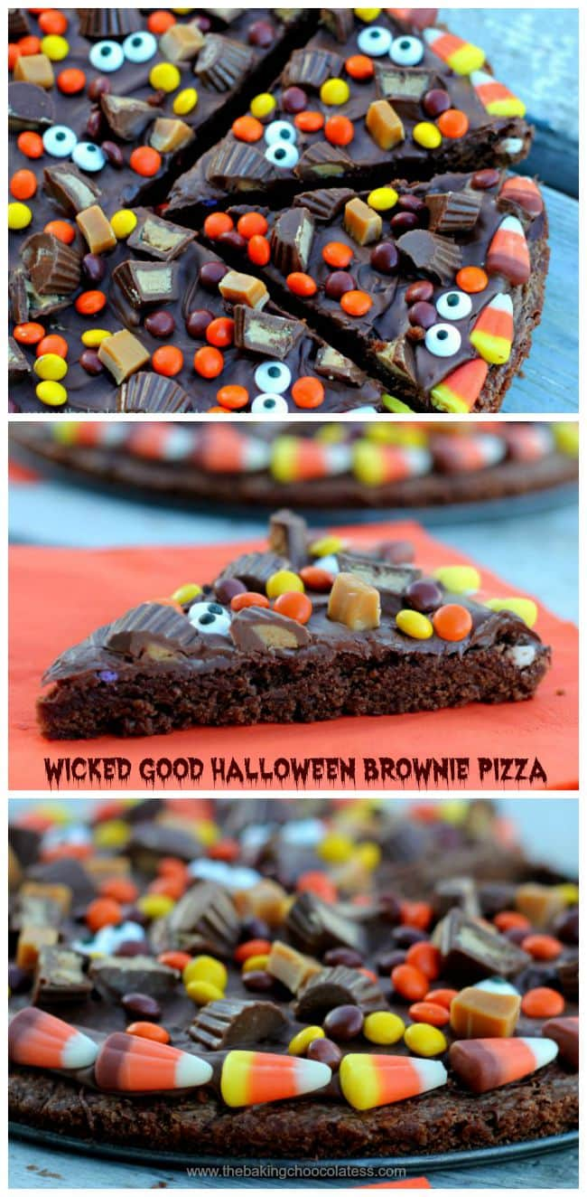 Wicked Good Halloween Brownie Pizza - Make Halloween baking fun with this sinfully Wicked Good Halloween Brownie Pizza! It is super fudgy, rich, and decadently topped with your favorite Halloween candies!