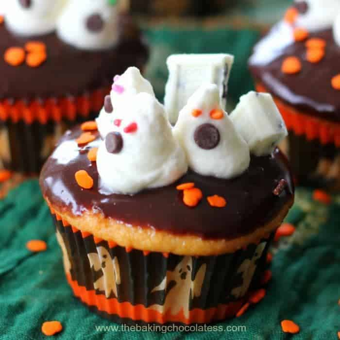 Cream Filled 'Ghosts In the Graveyard' Cupcakes