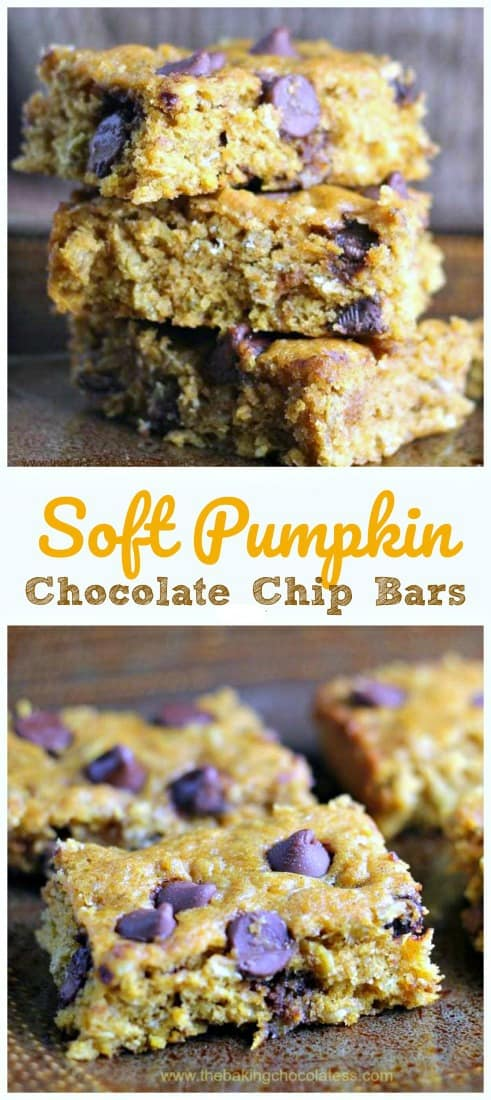 Soft Pumpkin Chocolate Chip Bars - These Pumpkin Chocolate Chip Bars are so soft, moist and super delicious! It's a perfect fall time dessert to share....or not! Addicting! #pumpkin #chocolate chip #bars #baking #fall #desserts #healthy