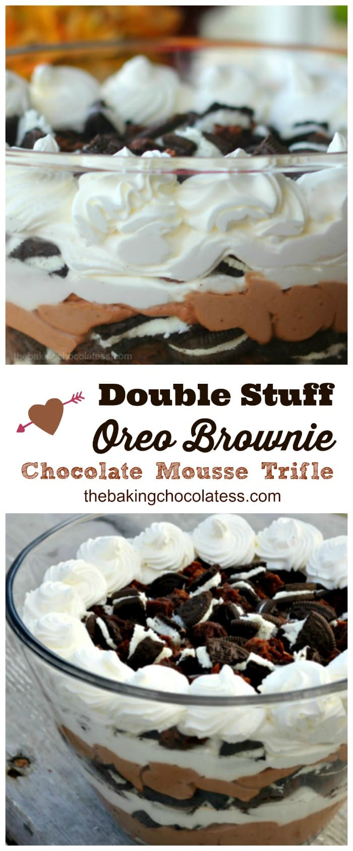 Double Stuff Oreo Brownie Chocolate Mousse Trifle is all about impressing.  Lots of fresh whipped cream, lots of double stuff Oreos, rich chocolate mousse and fudgy BROWNIES!!  #oreo #brownies #dessert #trifle #video #mousse #pudding