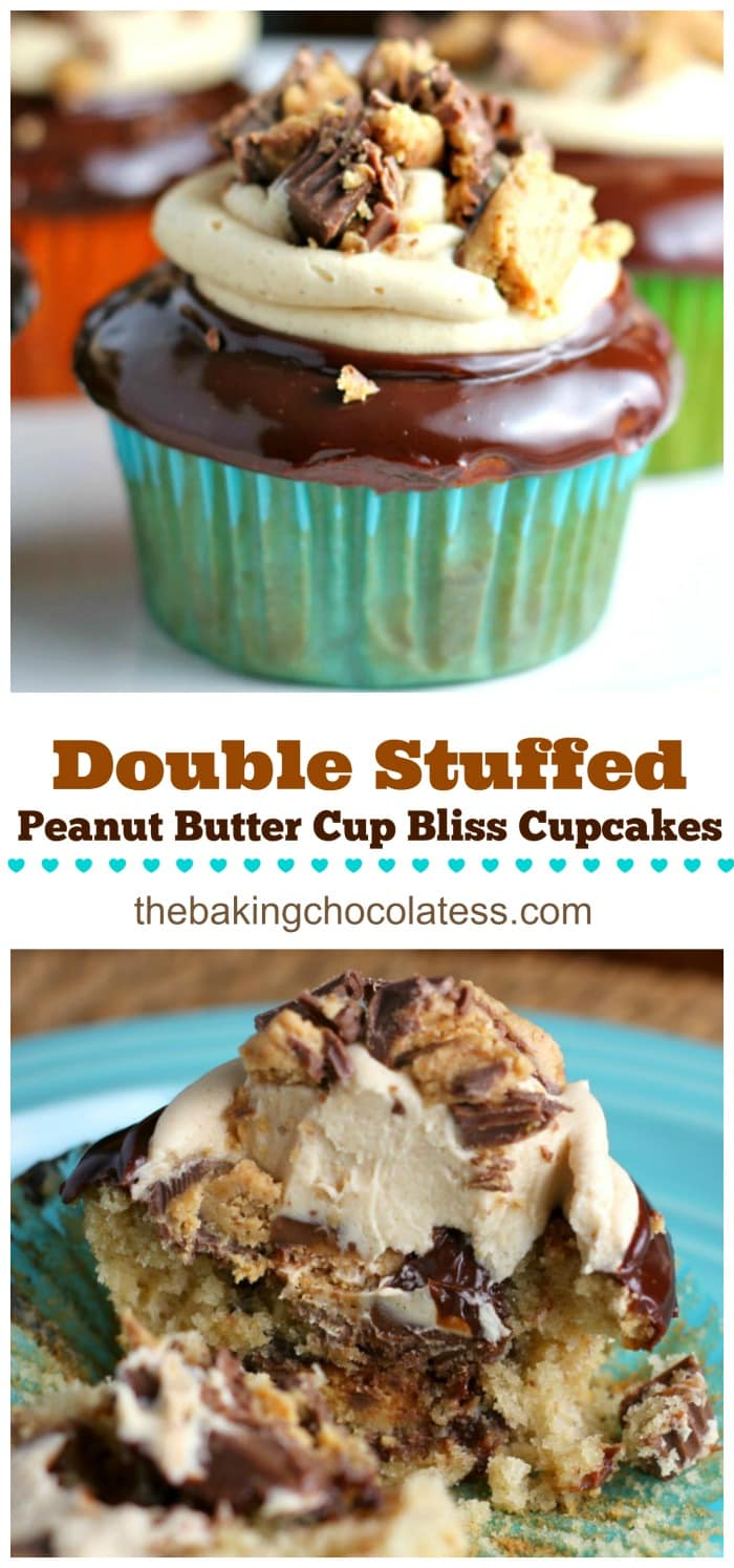 Double Stuffed Peanut Butter Cup Bliss Cupcakes will make your peanut butter dreams come true.  I promise. You need these in your life!   Yum on!