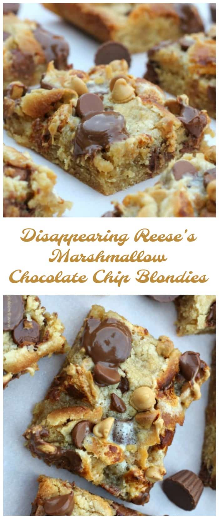 Super yummy blondie bars that are super addicting. They're perfect, thick and fudgy chocolate chip blondies baked with toasty marshmallow chunks and Reese's Peanut Butter Cups. Watch 'em disappear!