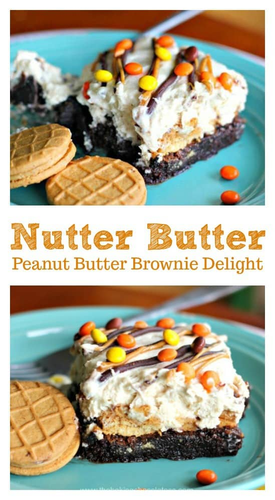 Nutter Butter Peanut Butter Brownie Delight- You'll completely be obsessed with heavenly bites of scrumptious Peanut Nutter Butter Cookies, creamy peanut butter fluff and rich, fudgy brownie delightfulness in my Nutter Butter Peanut Butter Brownie Delight!