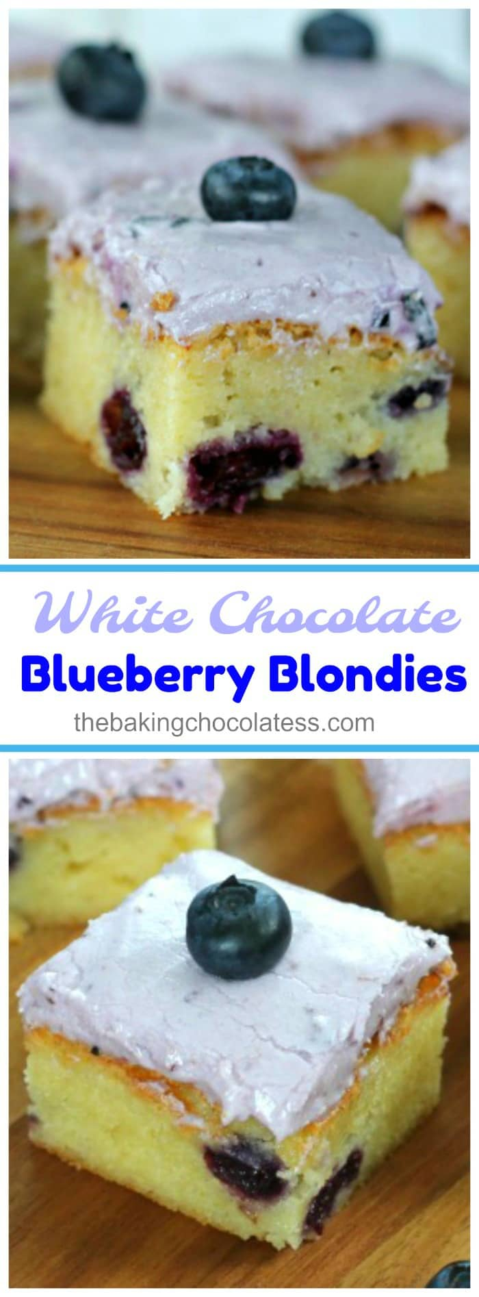 White Chocolate Blueberry Blondies  - These thick and chewy White Chocolate Blueberry Blondies are wonderfully enhanced with juicy blueberries with a hint of white chocolate and are topped with a tempting, creamy white chocolate blueberry cream cheese frosting. Yum!!