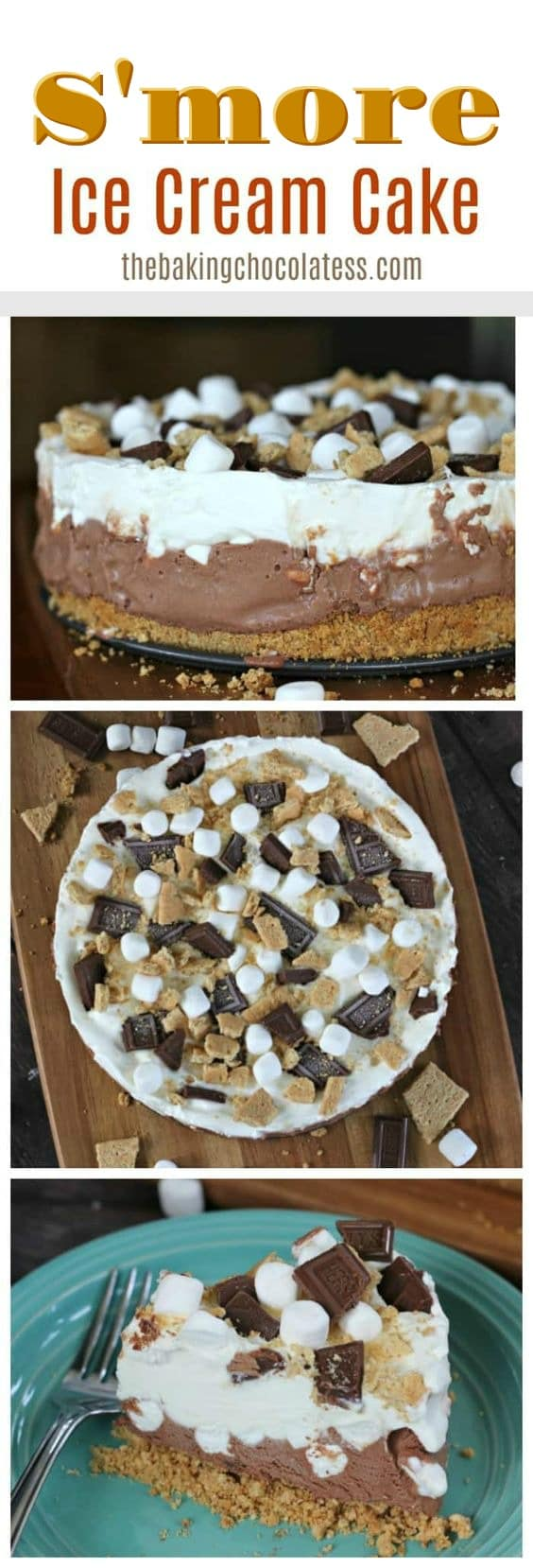 Have S'more fun devouring delicious bitefuls of this wonderful S'more Ice Cream Cake packed full of marshmallows, chocolate ice cream, whipped cream, Hershey's Bar Bits and graham crackers, which makes it one of the best summer treats of Summer!