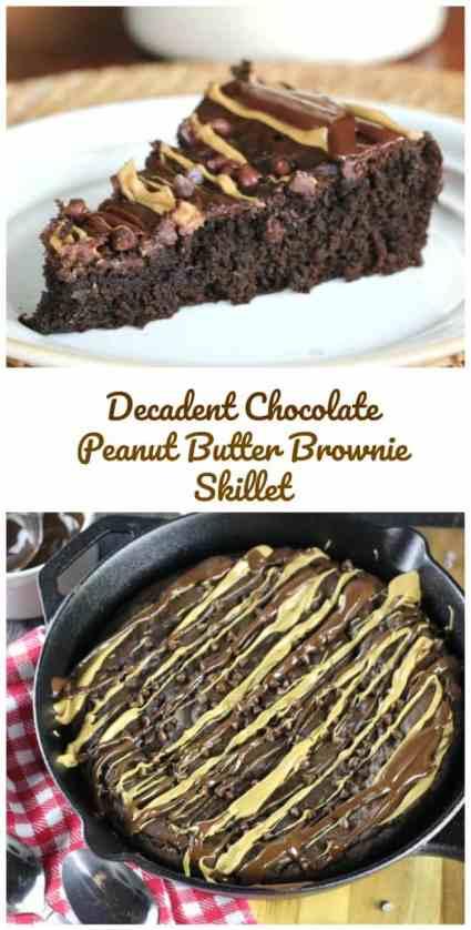 Decadent Chocolate Peanut Butter Brownie Skillet#Nectevia @stevivabrands #sweetandeasy #steviva