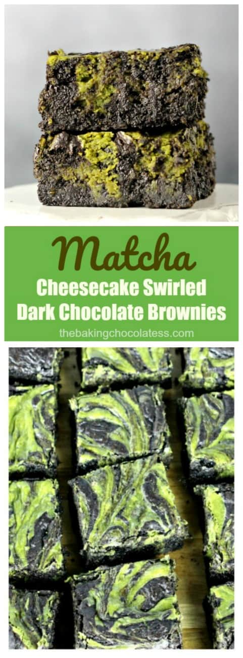 Matcha Cheesecake Swirled Brownies - Matcha Cheesecake swirled in dark, decadent chocolate brownies have a green tea kick to 'em!