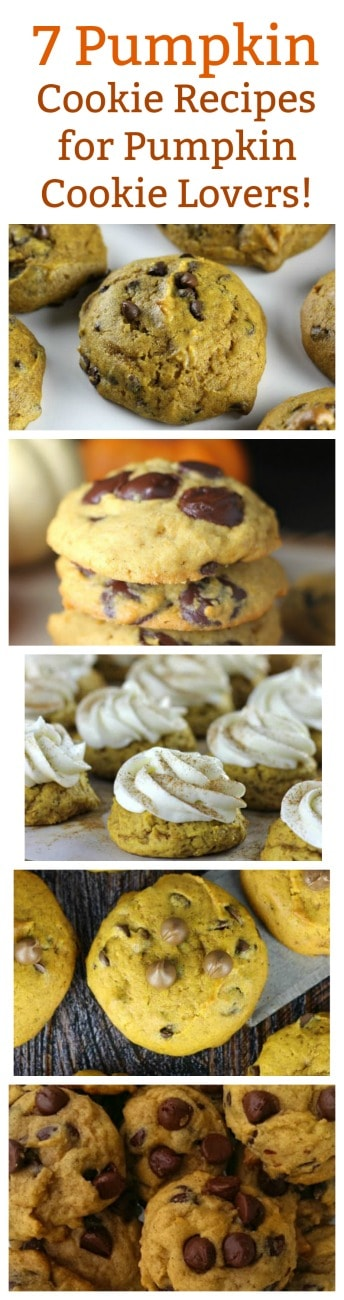 7 Pumpkin Cookie Recipes for Pumpkin Cookie Lovers! - Here's 7 Pumpkin Cookie Recipes for Pumpkin Cookie Lovers like you and me for the Fall and Winter holidays. Now all we need is a big mug of coffee or a big glass of milk and maybe even Santa Claus. It's been known he loves pumpkin cookies too! 7 Pumpkin Cookie Recipes for Pumpkin Cookie Lovers! #Pumpkin #Cookies #Thanksgiving #Christmas #desserts