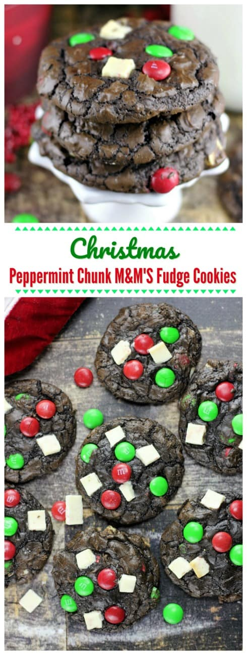 Christmas Peppermint Chunk M&M'S Fudge Cookies  - Christmas Peppermint Chunk M&M'S Fudge Cookies are everything you could ever hope for in a festive Christmas cookie! White chocolate peppermint chunks, pretty green and red M&M'S, mini chocolate chips all neatly wrapped in chocolate fudge cookies.#chocolate #Ghirardelli #Peppermint #cookies #fudge M&MS #holiday #baking