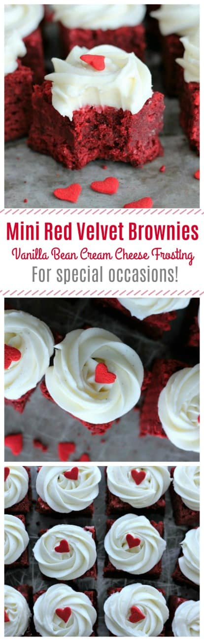 Mini Red Velvet Brownies with Vanilla Bean Cream Cheese Frosting - Rich, decadent red velvet brownies decked out with a lovely vanilla bean cream cheese frosting made are made with the best home-made love! These are a Valentine's Day sweet treat sure to get some attention!  #redvelvet #brownies #creamcheese #vanillabean #valentinesday #minidesserts #party #holidays