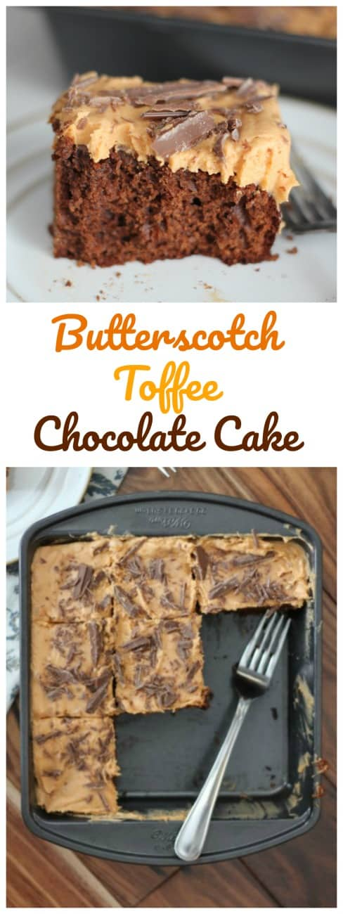 Butterscotch Toffee Chocolate Cake - This cake explodes with the best flavor combinations ever!#butterscotch #guittard #toffee #chocolate #cake #frosting #baking #holiday