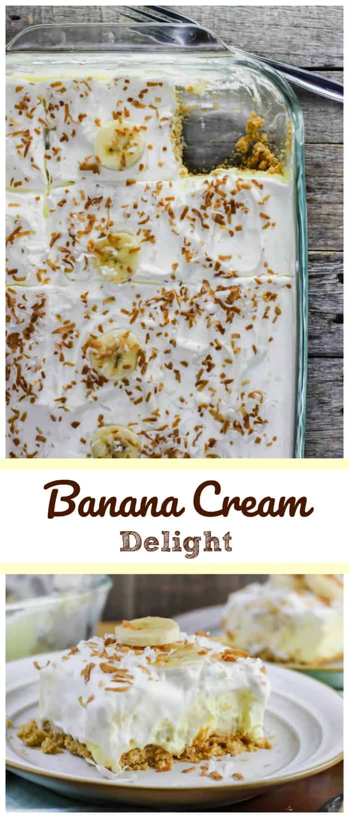 Luscious Banana Cream Delight - Creamy vanilla cheesecake pudding dessert with a layer of banana slices throughout on a buttery graham cracker crust and some fluffy whipped cream on top sounds pretty damn good! It's a classic!! It's delectable!! Banana Cream Pie in a pan!! #banana #pudding #nobake #dessert