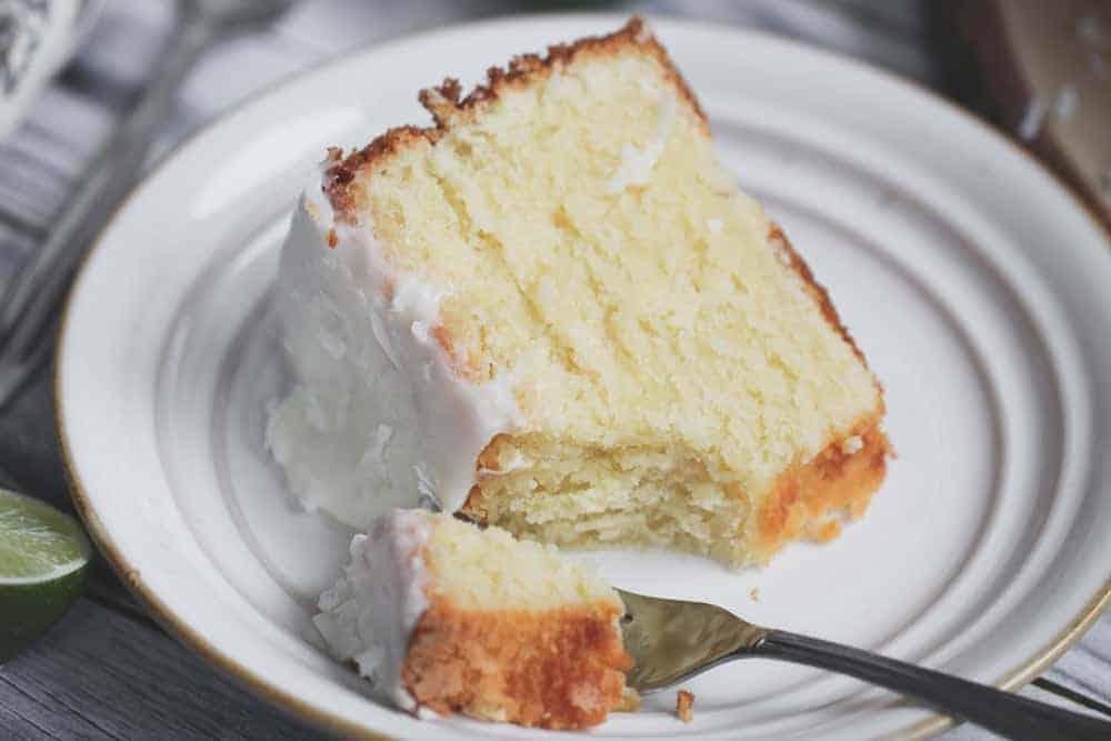 Coconut Lime Margarita Glazed Pound Cake